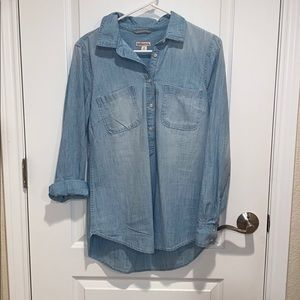 Target Merona Light Washed Denim Shirt Button Up